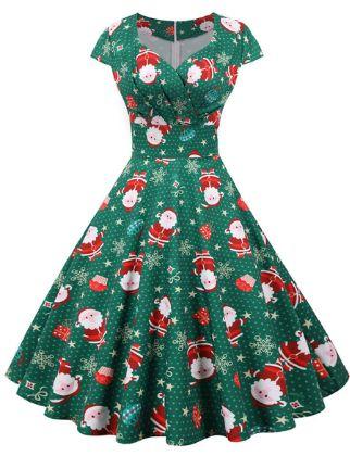 Women's Swing Dress Midi Dress - Short Sleeve Print Patchwork Print Fall V Neck Casual Christmas 2020 White Black Blue Red Blushing Pink Green Light Blue S M L XL XXL 3XL