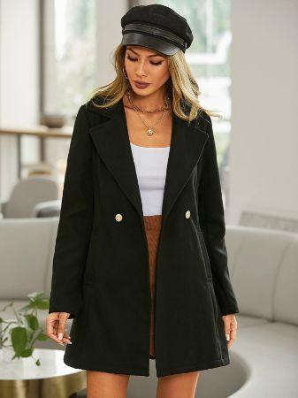 YOINS Black Button Design Lapel Collar Long Sleeves Coat