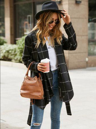 YOINS Black Plaid Belt Design Asymmetrical Hem Coat