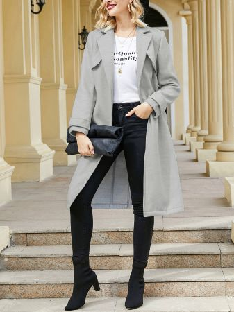 YOINS Grey Side Pockets Lapel Collar Long Sleeves Trench Coat