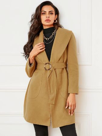 YOINS Khaki Side Pockets Lapel Collar Long Sleeves Trench Coat