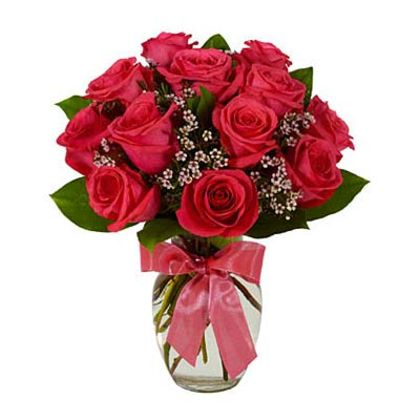 Hot Pink Roses - Long Stem, Pink Waxflower