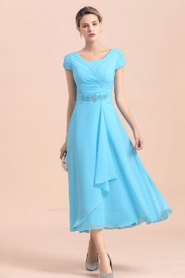 BMbridal Blue Short Sleeves Chiffon Mother of the Bride Dress Tea-Length Online