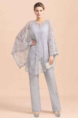 BMbridal Elegant V-Neck Appliques Silver Mother of Bride Jumpsuit with Lace Wraps