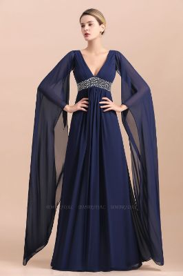BMbridal Navy Long Sleeve Chiffon Mother Of the Bride Dress With Ruffles Online