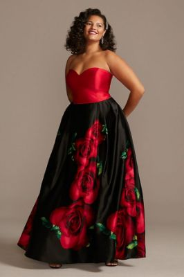 Blooming Rose Strapless Satin Plus Size Ball Gown