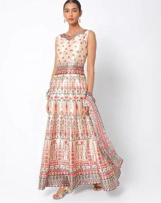 CHHABRA 555 - Printed Flared Dress with Dupatta