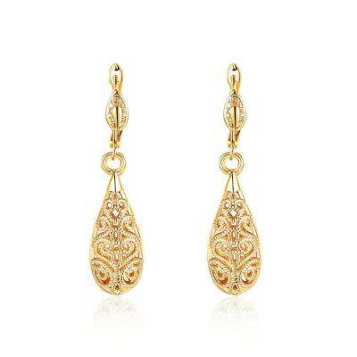 Eco-Friendly Gold Drop Earrings-Gold