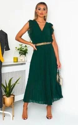 IKRUSH Bryanna Pleated Maxi Dress DARK GREEN