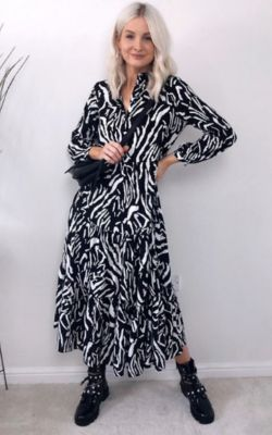 Saskia Printed Maxi Shirt Dress in Black