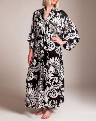 Josie Natori - Mantilla Scroll Long Robe