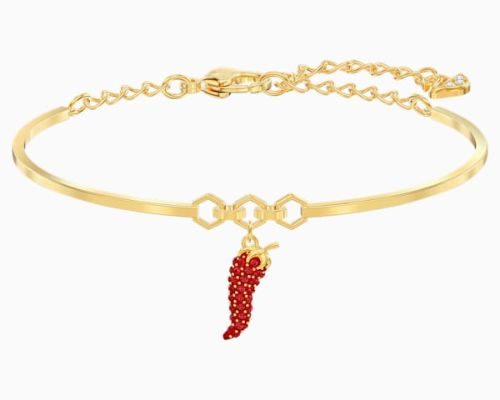 LISABEL PEPPER BANGLE, RED, GOLD-TONE PLATED