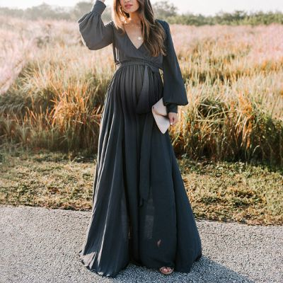Maternity Casual V-neck Long Sleeve Solid Color Dress