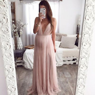 Maternity Sexy Deep-V Sling Open Back Mesh Maxi Dress