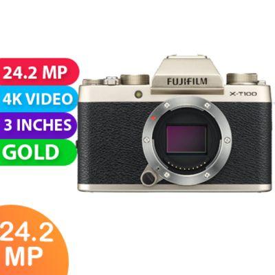New Fujifilm X-T100 24MP Digital Camera Body Only Champagne Gold