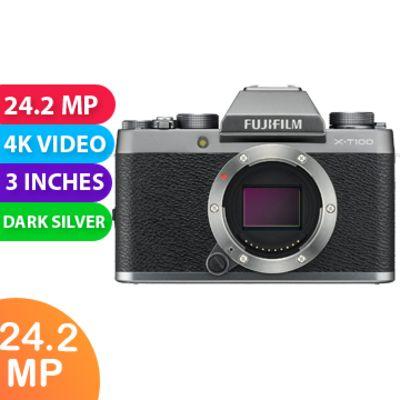 New Fujifilm X-T100 24MP Digital Camera Body Only Dark Silver