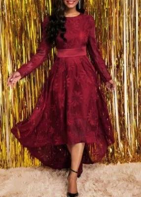 ROTITA Long Sleeve Round Neck Lace High Low Dress