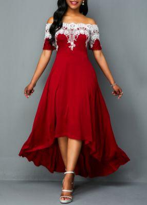 ROTITA Off Shoulder Lace Panel High Low Dress