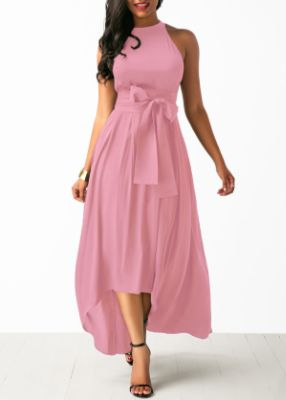 ROTITA Pink Cardigan and High Low Belted Dress