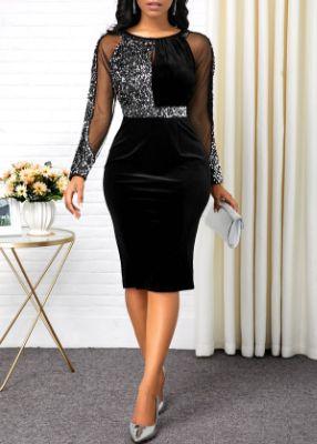 ROTITA Sequin Embellished Black Back Slit Dress