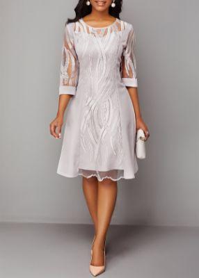 ROTITA Three Quarter Sleeve Round Neck Back Zipper Lace Dress
