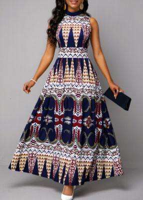ROTITA Tribal Print Sleeveless Mock Neck Maxi Dress