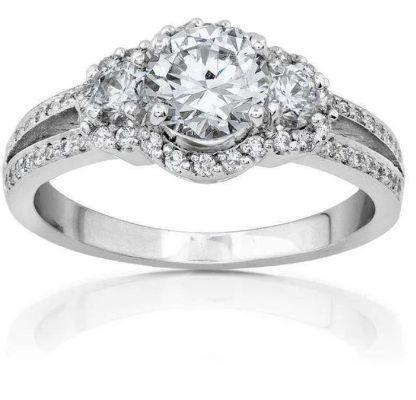 ROUND-BRILLIANT DIAMOND ENGAGEMENT RING 1 1/2 CARAT (CTW) IN 18K WHITE GOLD