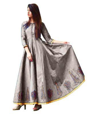 SAADHVI - Leaf Print Maxi Gown