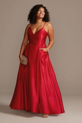 Satin Spaghetti Strap Plus Size Gown with Pockets