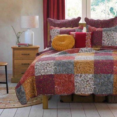 3 Piece Cotton King Size Quilt Set with Paisley Print, Multicolor By Casagear Home