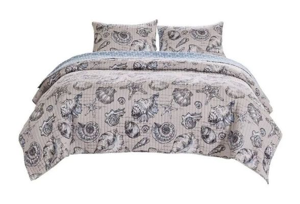 3 Piece King Quilt Set with Seashell and Starfish Print, White and Gray By Casagear Home