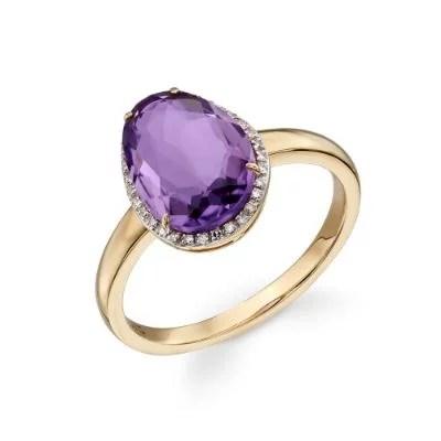 9ct Gold Organic Shaped Amethyst & Diamond Ring