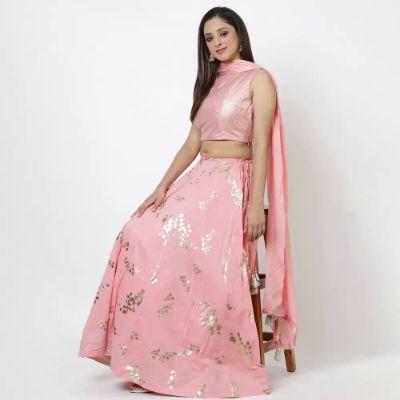 Blush Pink Cotton Lehenga Set