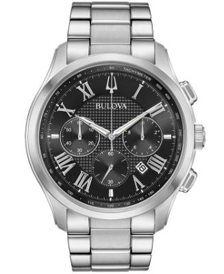 Bulova - Men's Chronograph Wilton Stainless Steel Bracelet Watch 46.5mm