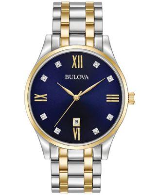 Bulova - Men's Diamond Accent Two-Tone Stainless Steel Bracelet Watch 40mm 98D130