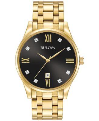 Bulova - Men's Dress Diamond Accent Gold-Tone Stainless Steel Bracelet Watch 40mm 97D108