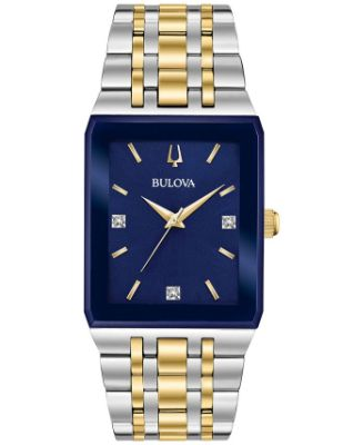 Bulova - Men's Futuro Diamond Accent Two-Tone Stainless Steel Bracelet Watch 30x45mm