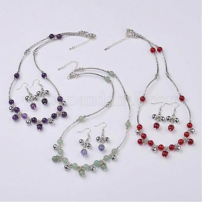 Fashion Gemstone Jewelry Sets, with Brass & Iron & Alloy Findings and Brass Lobster Clasp, Mixed Color, 20.8 inches