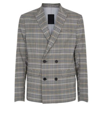 Grey Check Double Breasted Slim Fit Suit Jacket