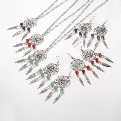 Leaf Alloy Jewelry Sets Necklaces & Earrings, with Natural Gemstones and Brass Earring Hooks, 18.1 inches