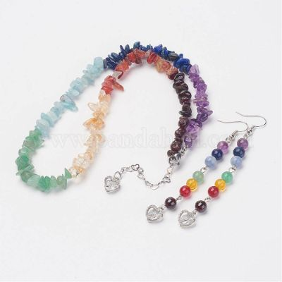 Mixed Gemstone Jewelry Sets, Beaded Necklaces & Dangle Earrings, with Brass Earring Hooks, Platinum, 17.1 inches