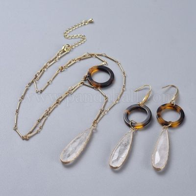 Natural Quartz Crystal Pendants Necklaces and Dangle Earrings Jewelry Sets, with Cellulose Acetate(Resin) Rings, 316 Stainless Steel and Brass Findings, Real 18K Gold Plated