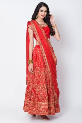 Red Art Silk Lehenga Set