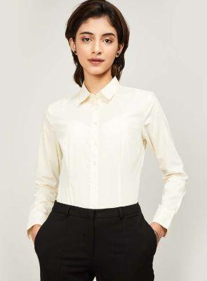 VAN HEUSEN Women Solid Full Sleeves Casual Shirt