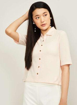 VAN HEUSEN Women Solid Spread Collar Shirt