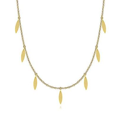 "24"" 14K Yellow Gold Chain Necklace with Marquise Shaped Drops"