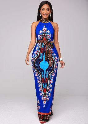 Belted Dashiki Print Bib Neck Maxi Dress