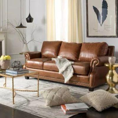 Brayton Leather Sofa Coffee - Safavieh