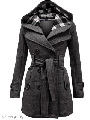 Checked Hooded Woolen Coat With Long Belt