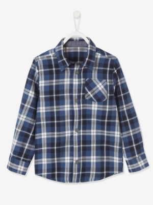 Chequered Shirt with Large Motif on the Back, for Boys- blue medium checks